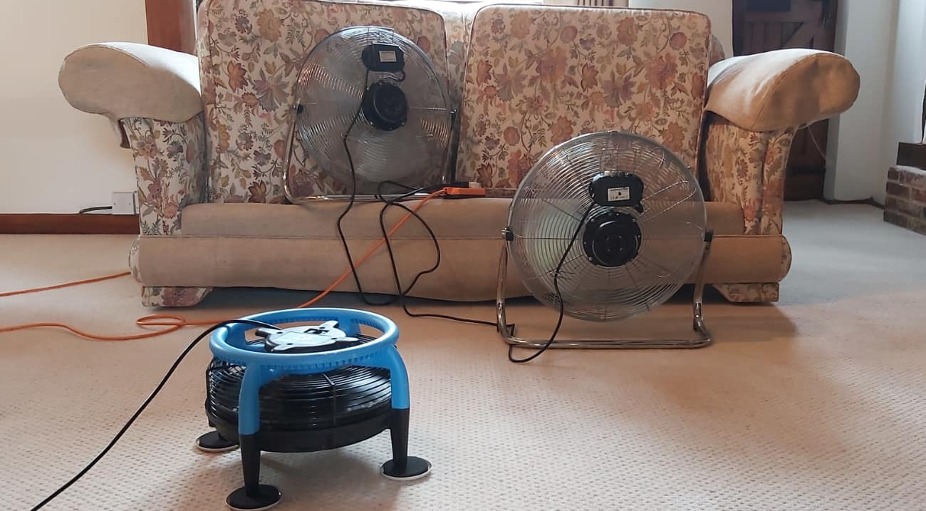 Fans and air movers speed dry